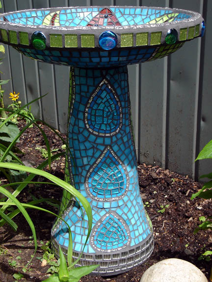 Botanical Bird Bath side view