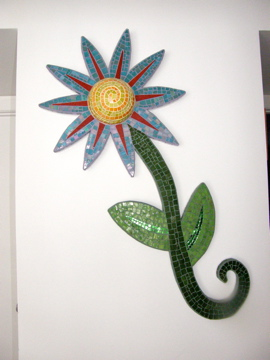 "Big Blue Flower  2004  21""W x 43""H x 5""D"