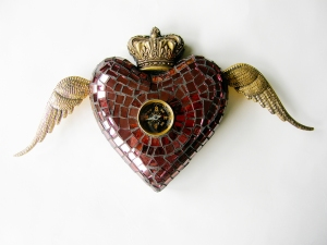 Winged Mosaic Heart with metal wings, crown and compass