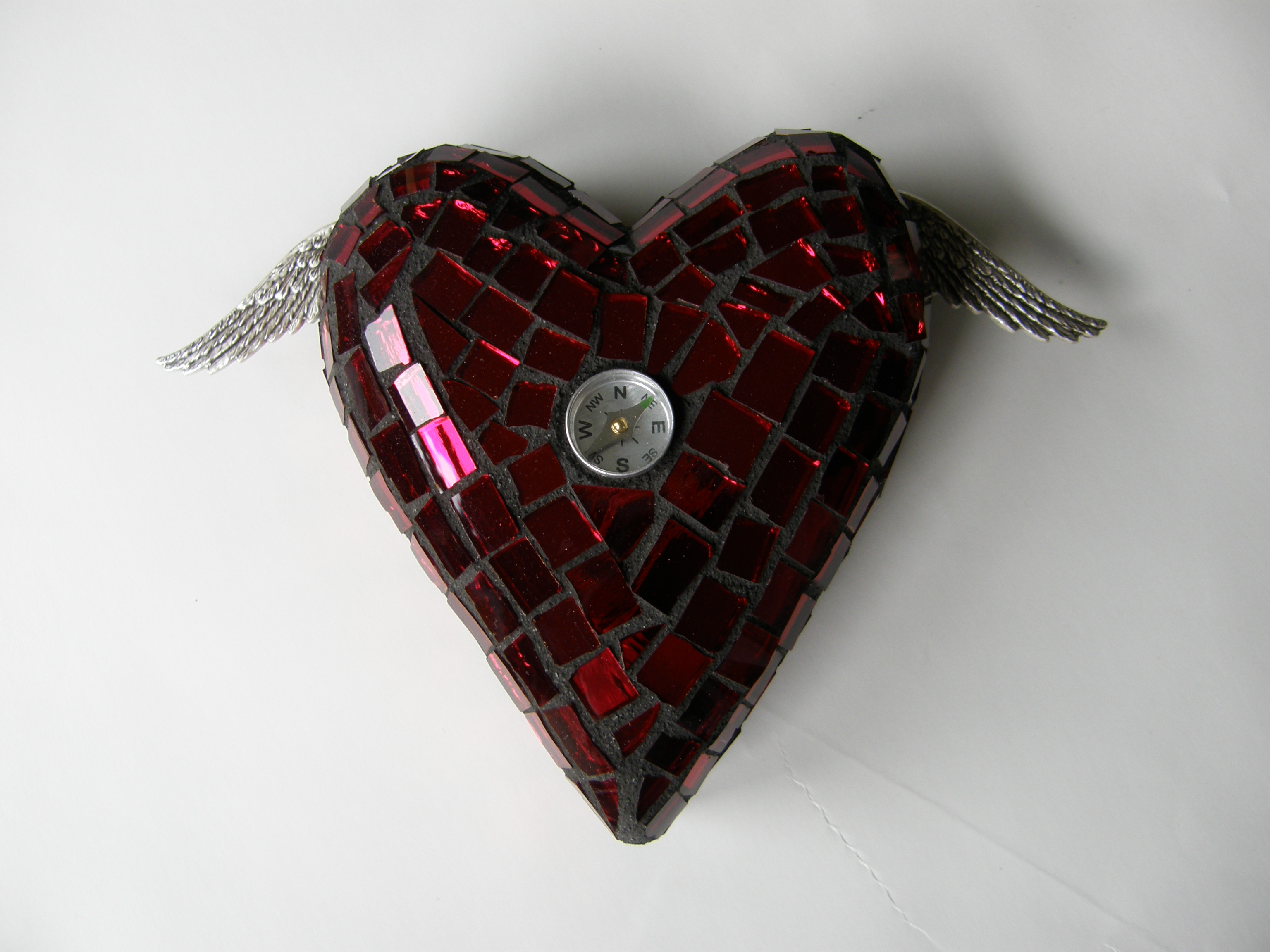 steampunk inspired mosaic winged hearts